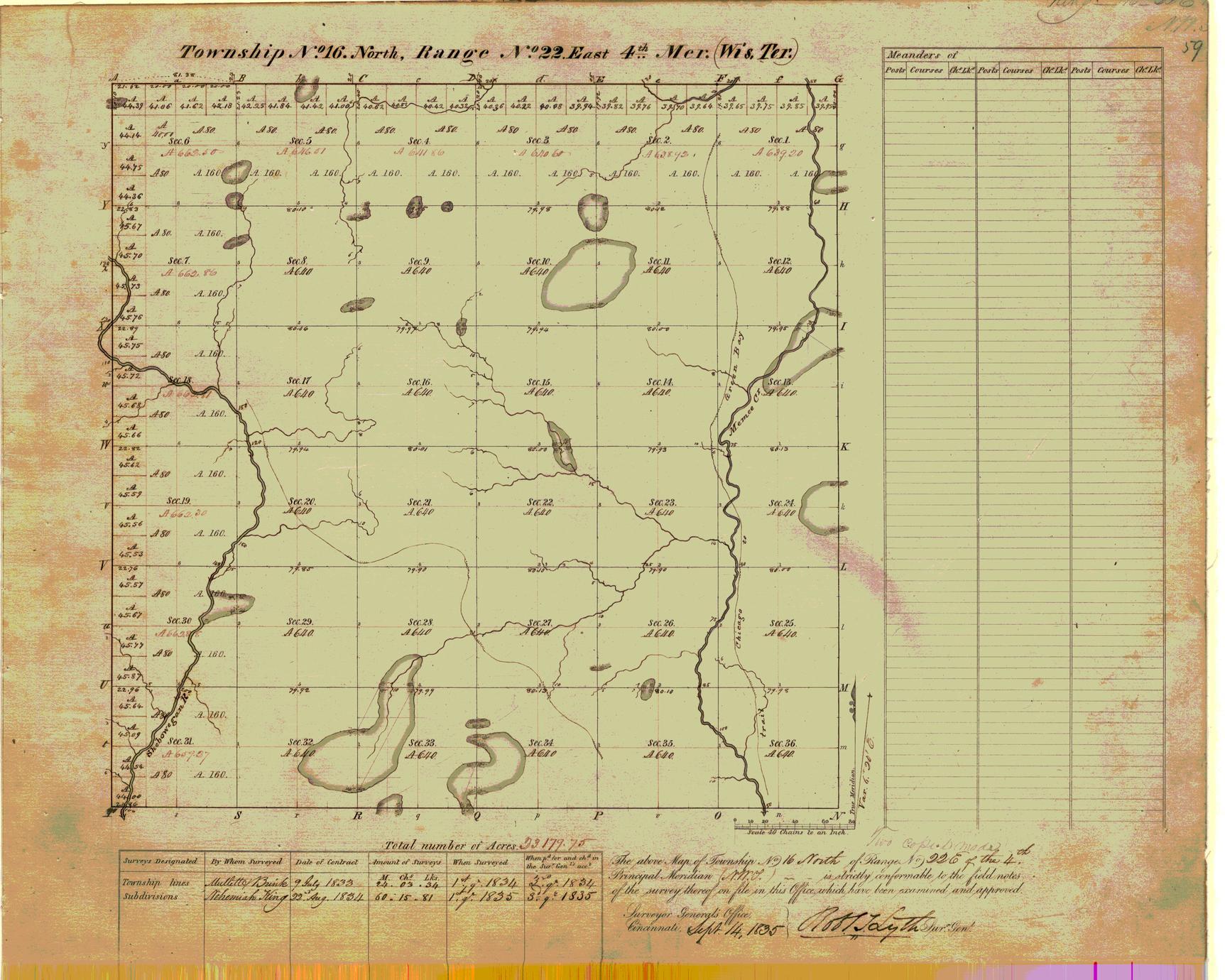 [Public Land Survey System map: Wisconsin Township 16 North, Range 22 East]