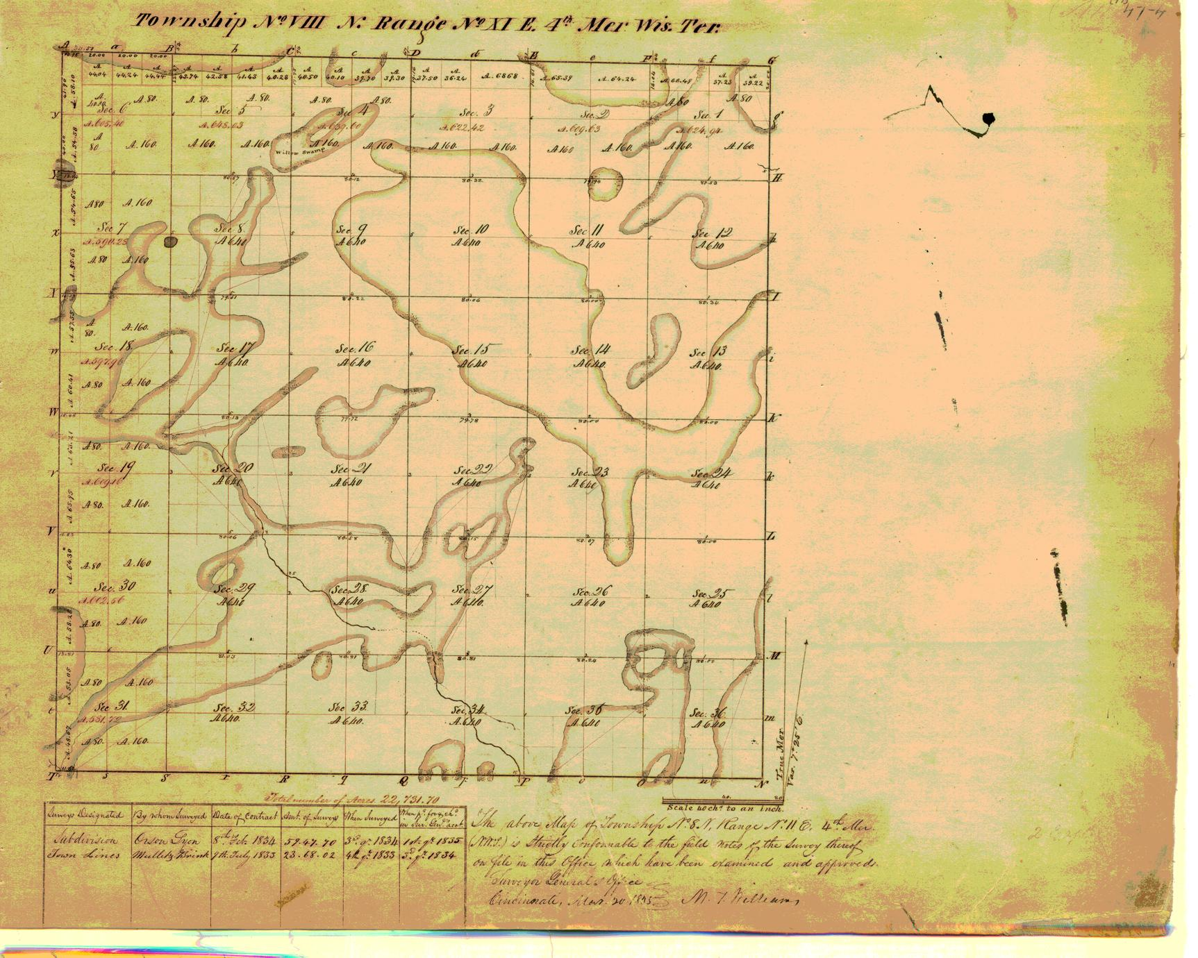 [Public Land Survey System map: Wisconsin Township 08 North, Range 11 East]