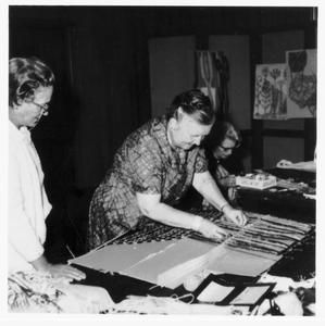 Helen Louise Allen teaching weaving