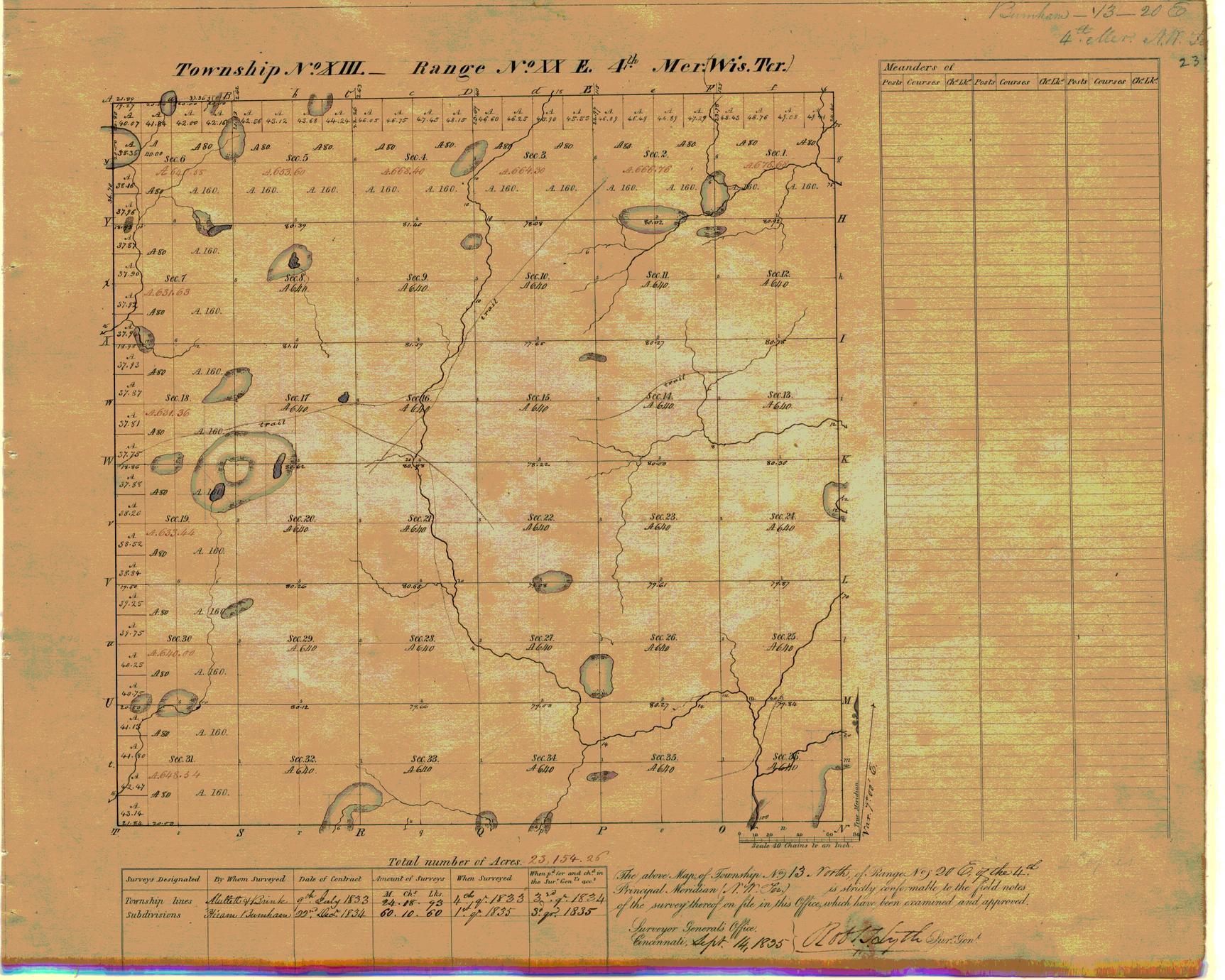 [Public Land Survey System map: Wisconsin Township 13 North, Range 20 East]