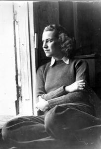 Nina Leopold in shack doorway