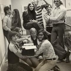Student newspaper staff Christmas photo, University of Wisconsin--Marshfield/Wood County, December 1973