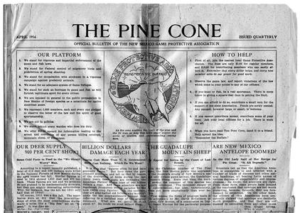 """The Pine Cone,"" bulletin of the New Mexico Game Protective Association (AL edited), April 1916"