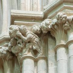 Wells Cathedral interior south transept capitals