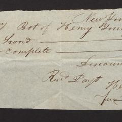 Bill from Henry Young, New York, May 12, 1824