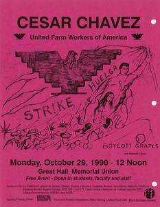 Poster for lecture by Cesar Chavez