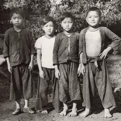 Four White Hmong boys in Houa Khong Province