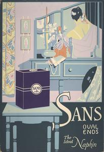 "Sans Oval Ends ""Ideal napkin"" poster"