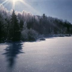 Sun and hoar frost at dawn in winter at Mystery Lake