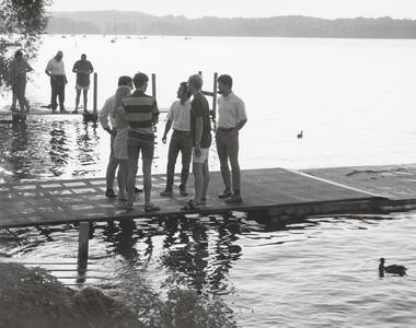 Students on Lake Mendota pier