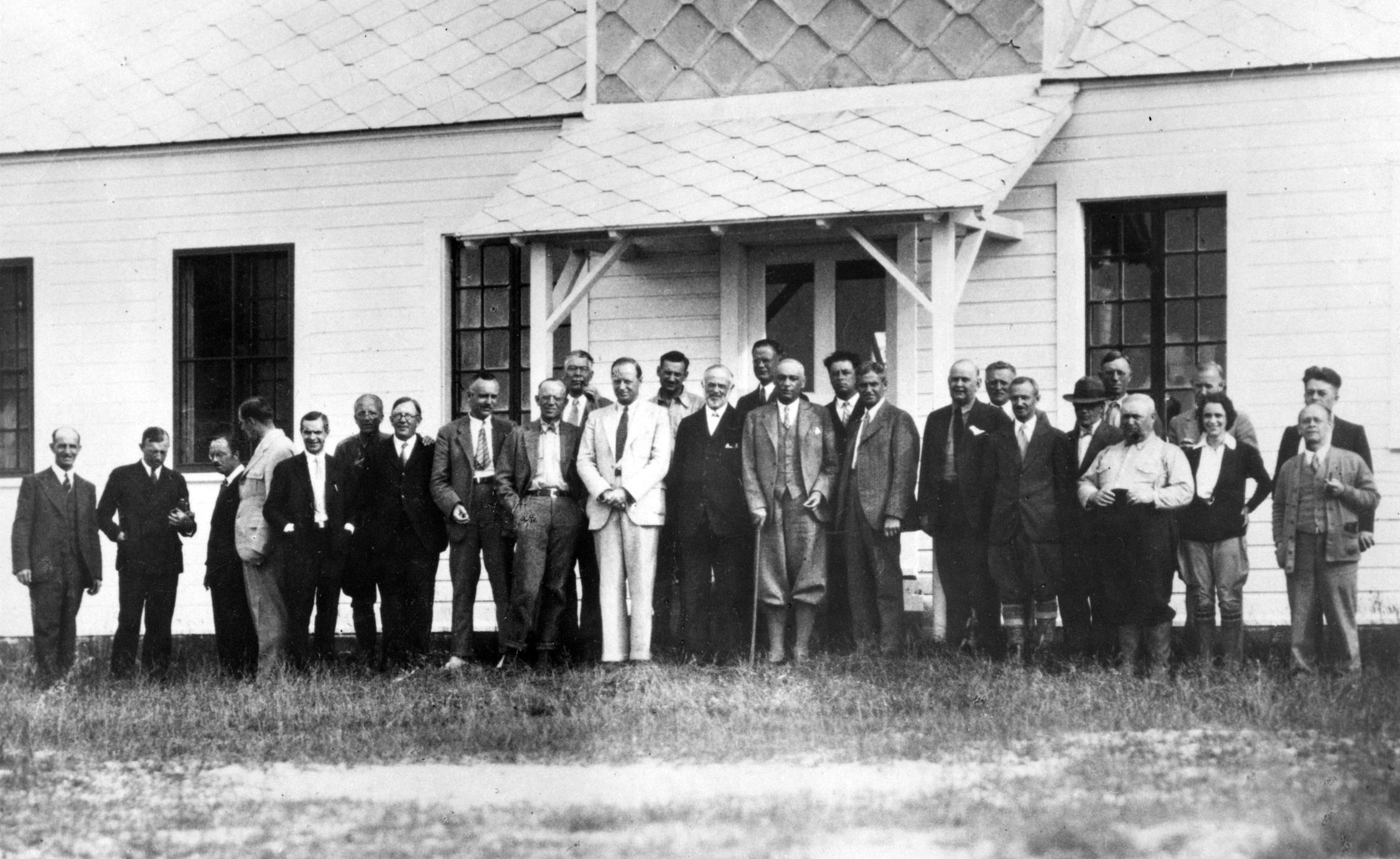 With group at the Matamek Conference on Biological Cycles, July 1931 (AL ninth from L)