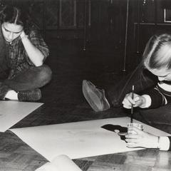 "Preparing posters for the annual ""Potpourri"" show"