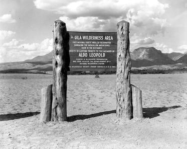 Gila Wilderness Area marker showing dedication to Aldo Leopold, ca. 1970