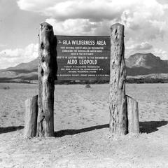 Gila Wilderness Area marker showing dedication to Aldo Leopold, ca. 1970