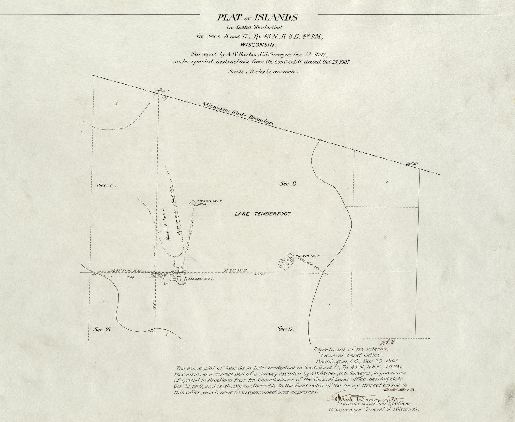 [Public Land Survey System map: Wisconsin Township 43 North, Range 08 East]