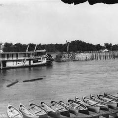 Side view of the Nina during the building of the Wagon Bridge, La Crosse, Wis.