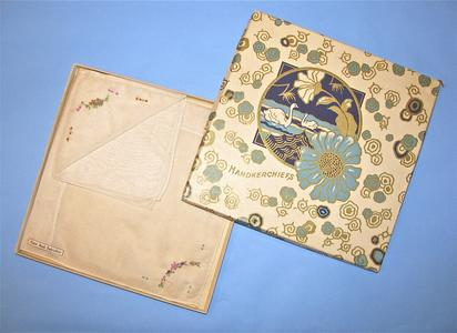 Two flowered handkerchiefs with box