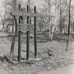 Lizard Mound State Park sign