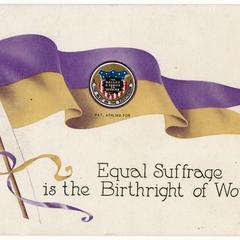Birthright of women, suffrage postcard
