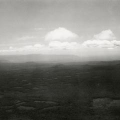 Aerial view of the southern rim of the Boloven Plateau looking towards Cambodia