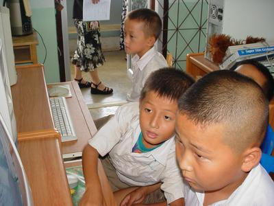 Boys using computers