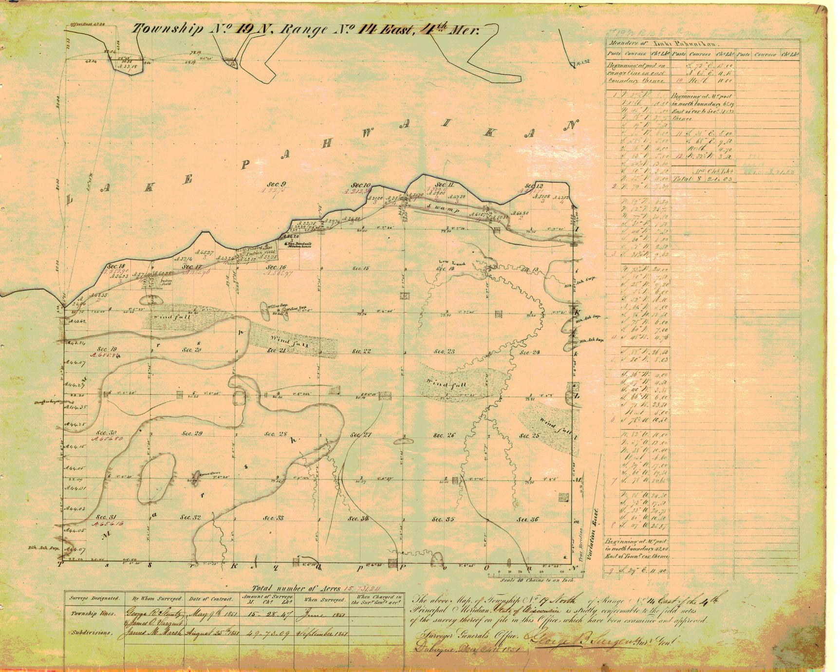 [Public Land Survey System map: Wisconsin Township 19 North, Range 14 East]
