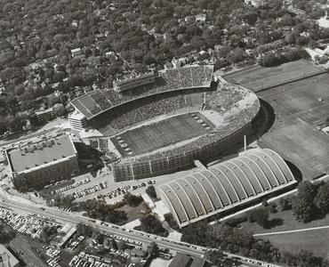 Aerial view of Camp Randall during a game