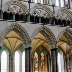 Salisbury Cathedral nave clerestory, tribune gallery and arcade