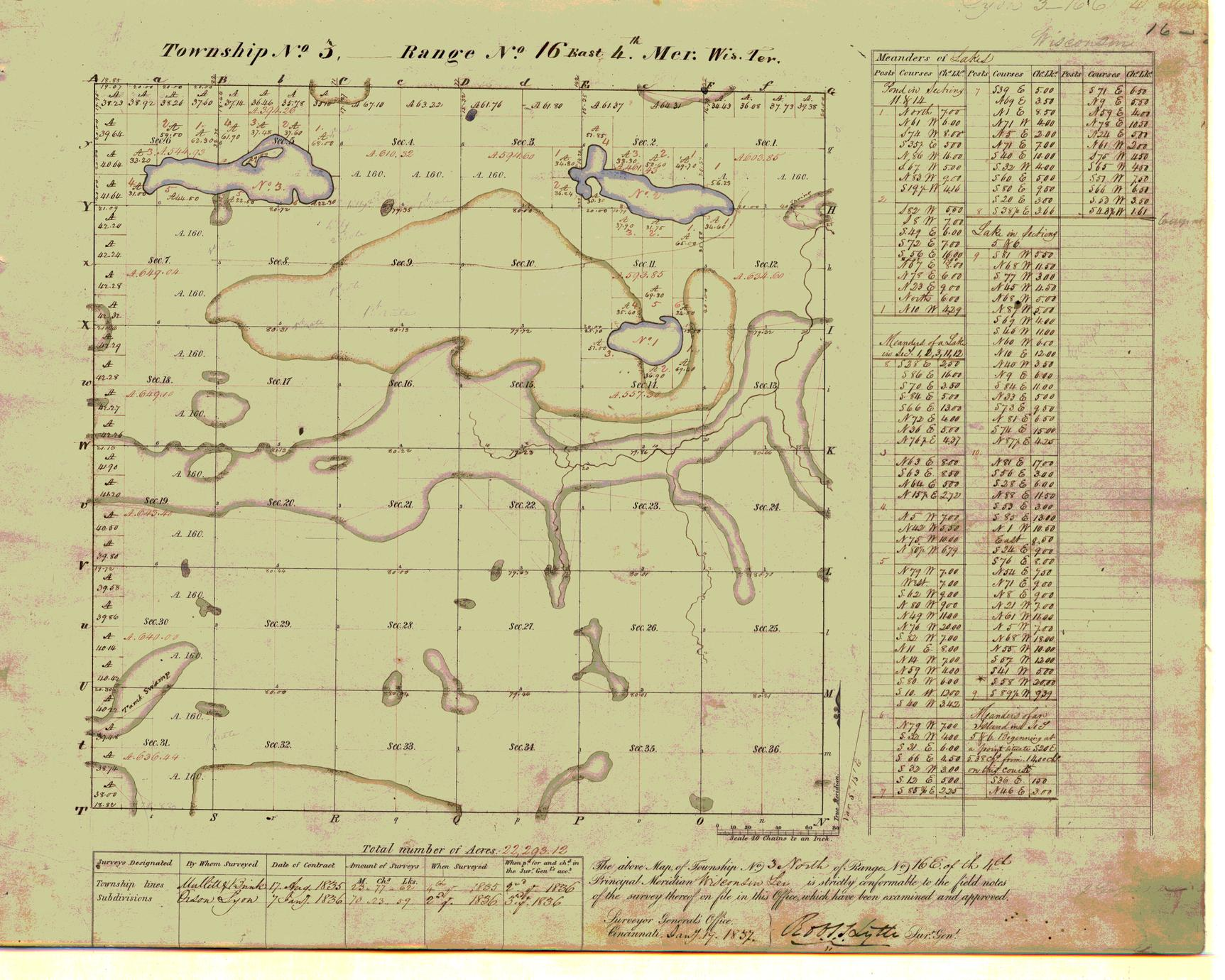 [Public Land Survey System map: Wisconsin Township 03 North, Range 16 East]