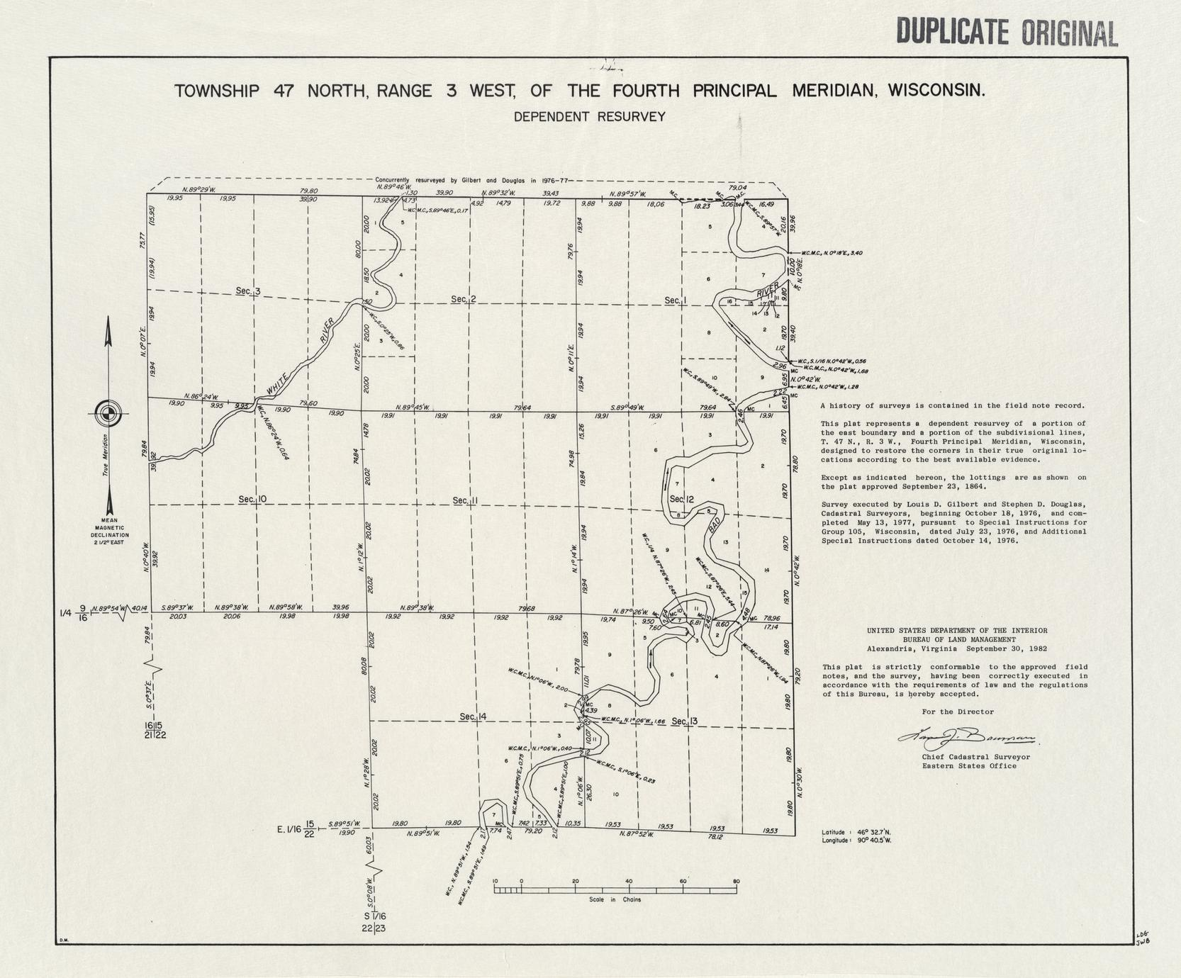 [Public Land Survey System map: Wisconsin Township 47 North, Range 03 West]