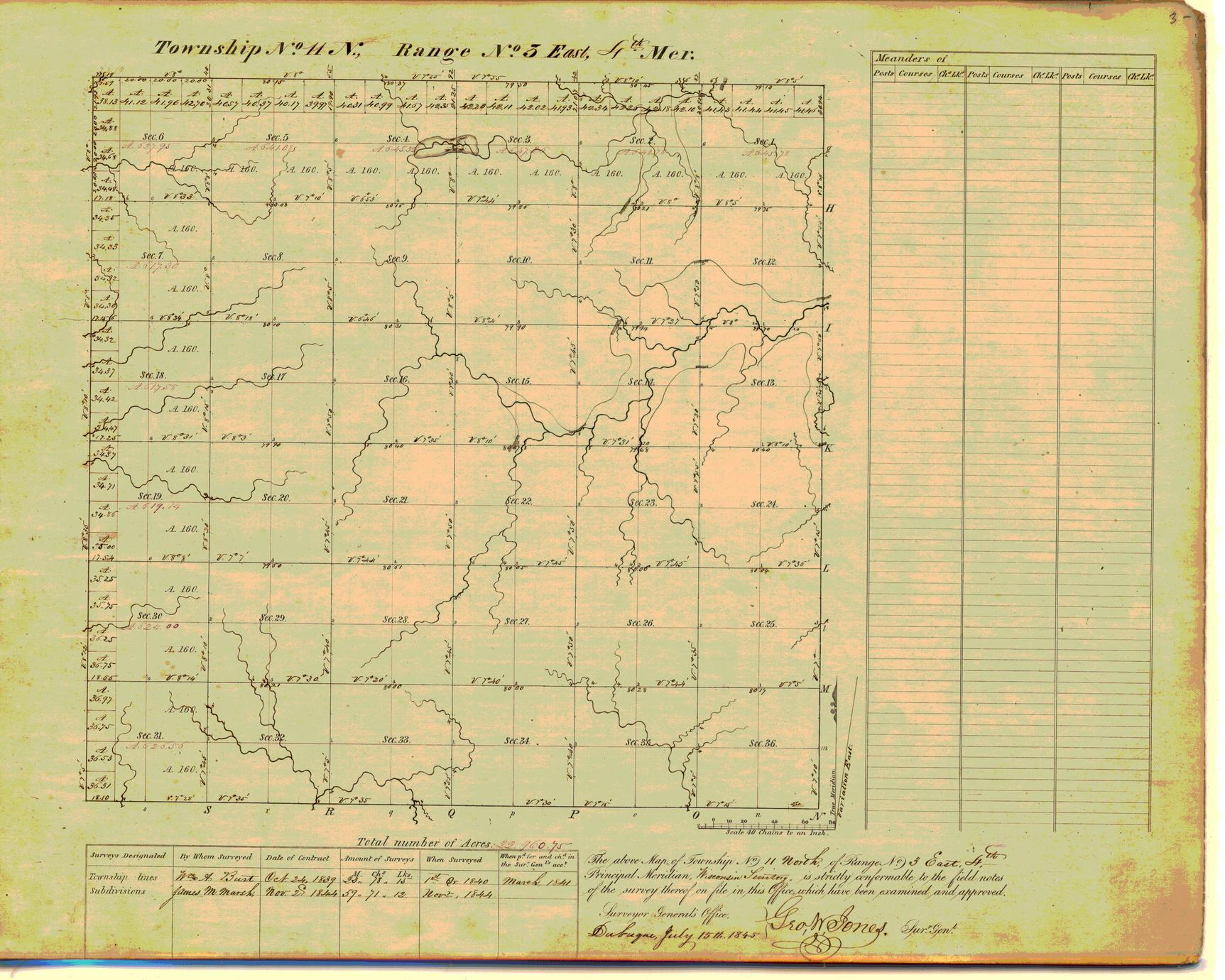 [Public Land Survey System map: Wisconsin Township 11 North, Range 03 East]