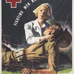 'Fighting men need nurses' Red Cross recruiting poster