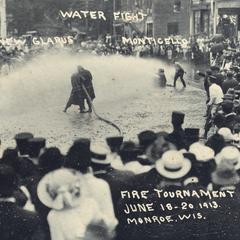 Fire tournament water fight, Monroe, 1913