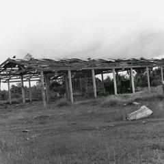 War damage to the main market in Saravan town during fighting June 1970 in Saravan Province