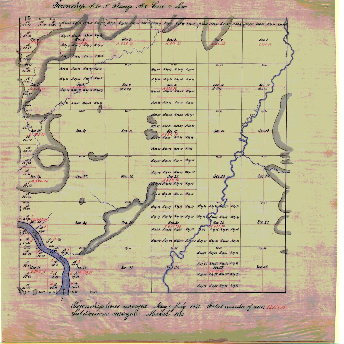 [Public Land Survey System map: Wisconsin Township 24 North, Range 08 East]
