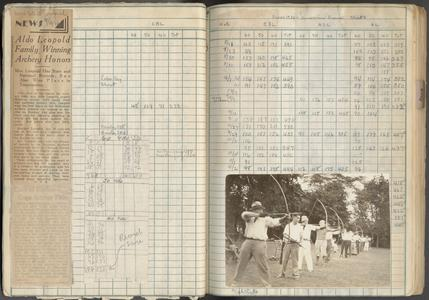 Leopold family archery competition, ledger page with newspaper clipping, recorded scores and photo, September 1930