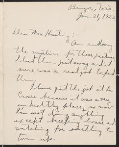 [Letter from John Ruedebusch to Agnes Sternberger Husting, January 31, 1923]