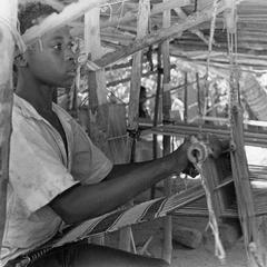 Fulbe Boy Weaving Cotton Strips on Loom