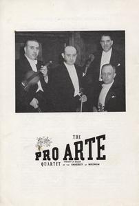 Pro Arte Quartet Ad, UW Music Clinic Program