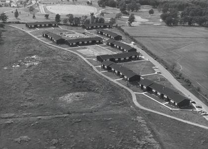 Aerial view of Bay Apartments, first student housing