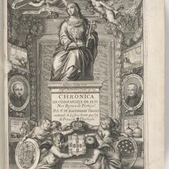Engraved title page from Telles' Chronica da companhia de iesu