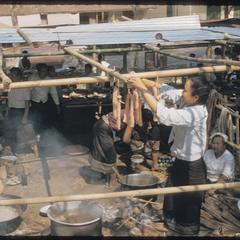 Detail : preparing Boun feast