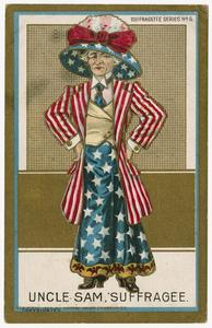 Uncle Sam, suffragee, Suffragette Series no.6 postcard