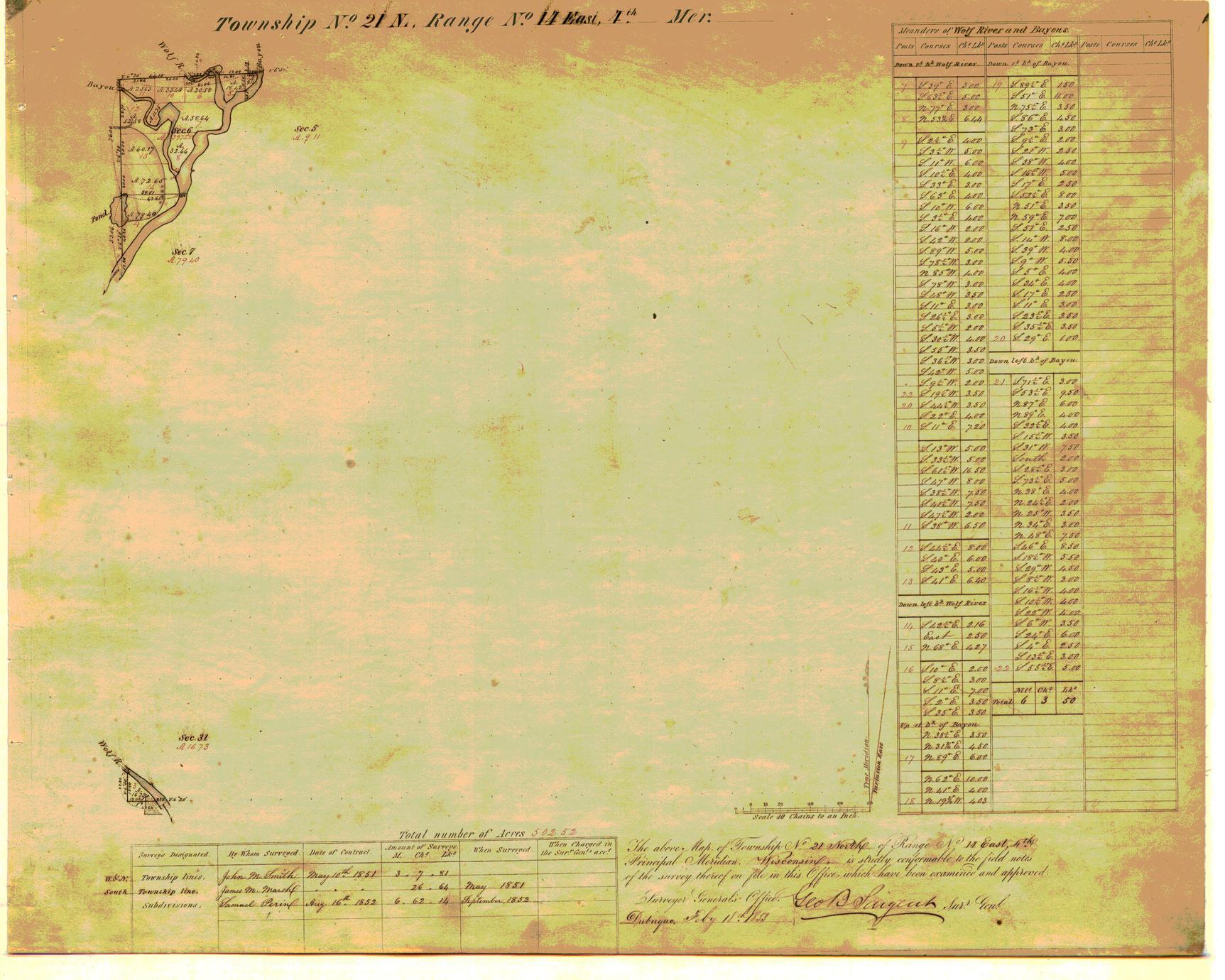 [Public Land Survey System map: Wisconsin Township 21 North, Range 14 East]