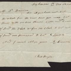 Letter from Elijah Simons, 1820