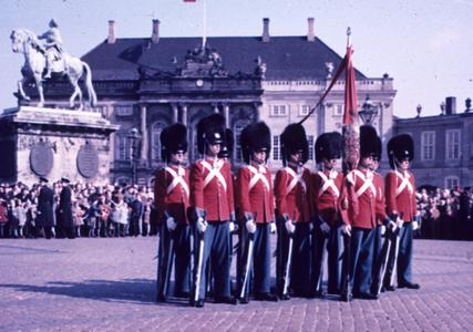 Royal Life Guards in front of the Amalienborg Palace