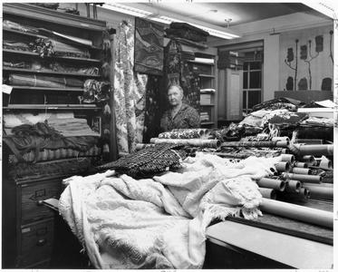 Helen Louise Allen in her textile collection