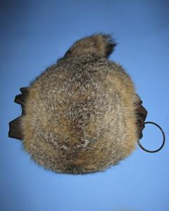Kit fox round poofy muff with tail