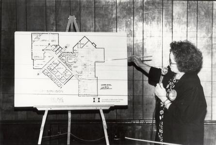 Nancy Aumann explaining building expansion and remodeling, University of Wisconsin--Marshfield/Wood County, May 15, 1994