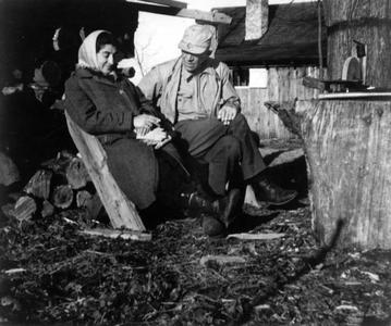 Aldo and Estella relaxing in front of the Shack, 1944
